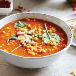 sopa picante de lentejas rojas